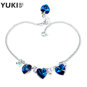 YUKI jewelry Crystal foot chain 925 Silver Blue moods of the ocean''s Day surprise gift original