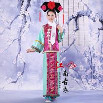清朝古装还珠格格服装满族女儿童古代宫女甄嬛反串班服演出服