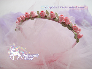 Harajuku girl soft pink roses headbands