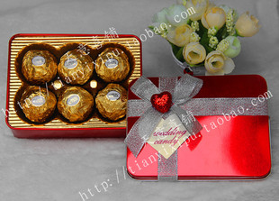 Hot wholesale marry candy box tinplate creative personality upscale large rectangular iron box can be mounted smoke