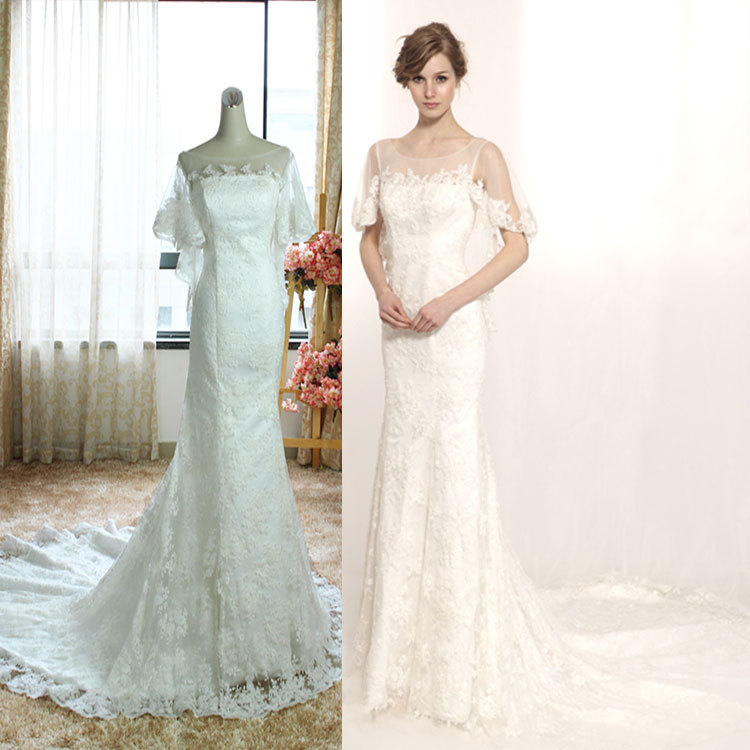Lace Fishtail Wedding Dress With Sleeves Gown