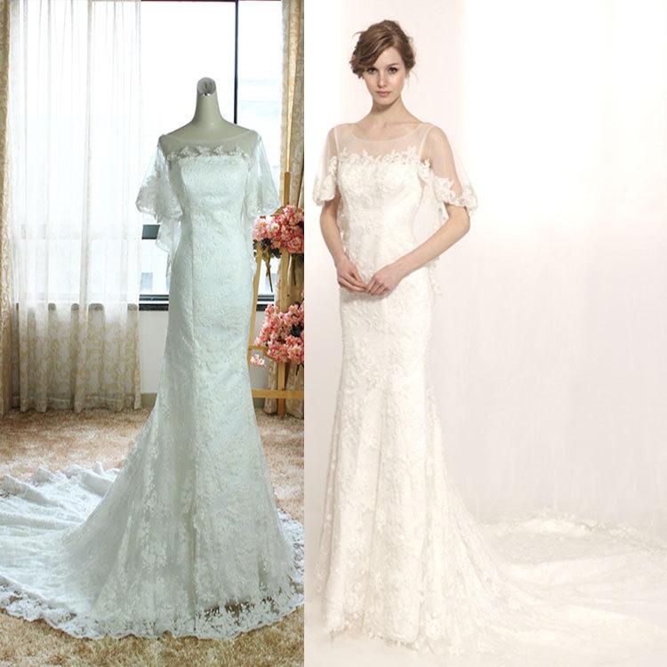 Custom Europe Butterfly Sleeves Winter Wedding Dress Wedding Dress