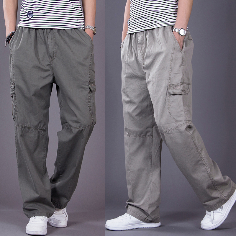 Multi Pocket casual pants mens extra large overalls fat mens pants loose fat mens Pants Large Mens wear