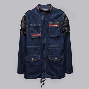 Genuine MIXTRIX fashion brand men s autumn new Korean stitching round neck long denim jacket 36 4