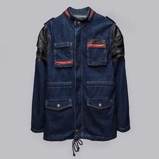 正品MIXTRIX时尚品牌秋季新款韩版男装拼接圆领长款牛仔夹克 36-4