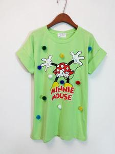 韩国新款夏装卡通米奇立体糖果色毛球宽松棉短袖中长圆领T恤上衣