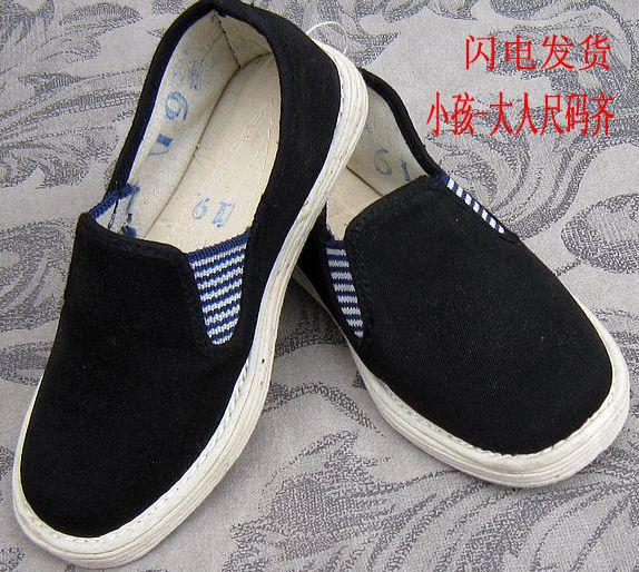 Ручной работы ткань Детская обувь Детская обувь имеют корейской версии мальчики мягкая единственная обувь старые Пекине ткань обувь черный упругой пота ног