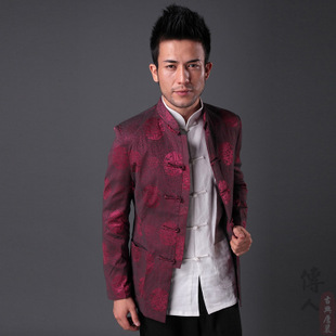 New Spring and Autumn long sleeved jacket costume male casual jacket costume Chinese silk brocade jacket 832 red wine