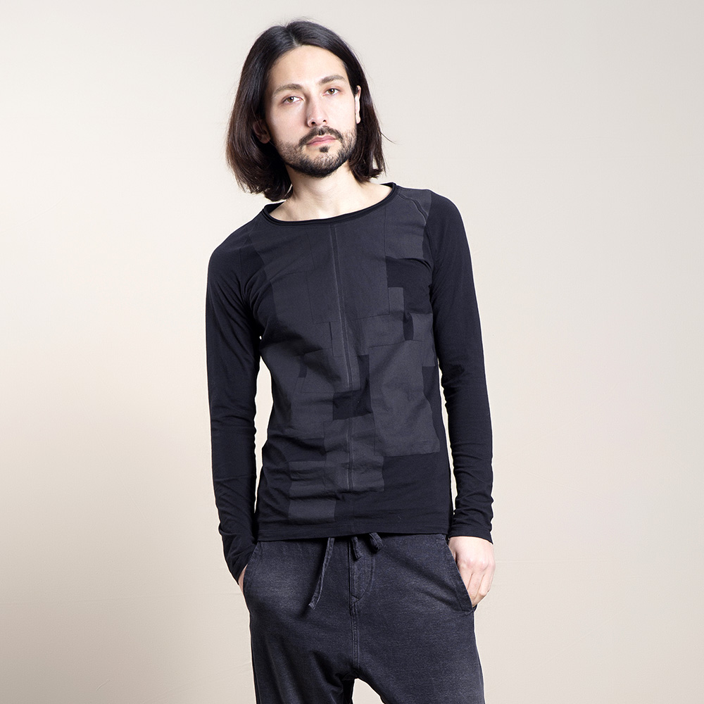 Zuee phẫu thuật người đàn ông Nhật Bản dài tay T-Shirt khâu gốc đơn giản t-shirt nam đáy áo thời trang bên trong có Z141T608 áo thun burberry
