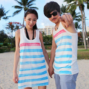 The new 2012 Korean female summer lovers vest suit stripe sleeveless long section increase the word beach vest