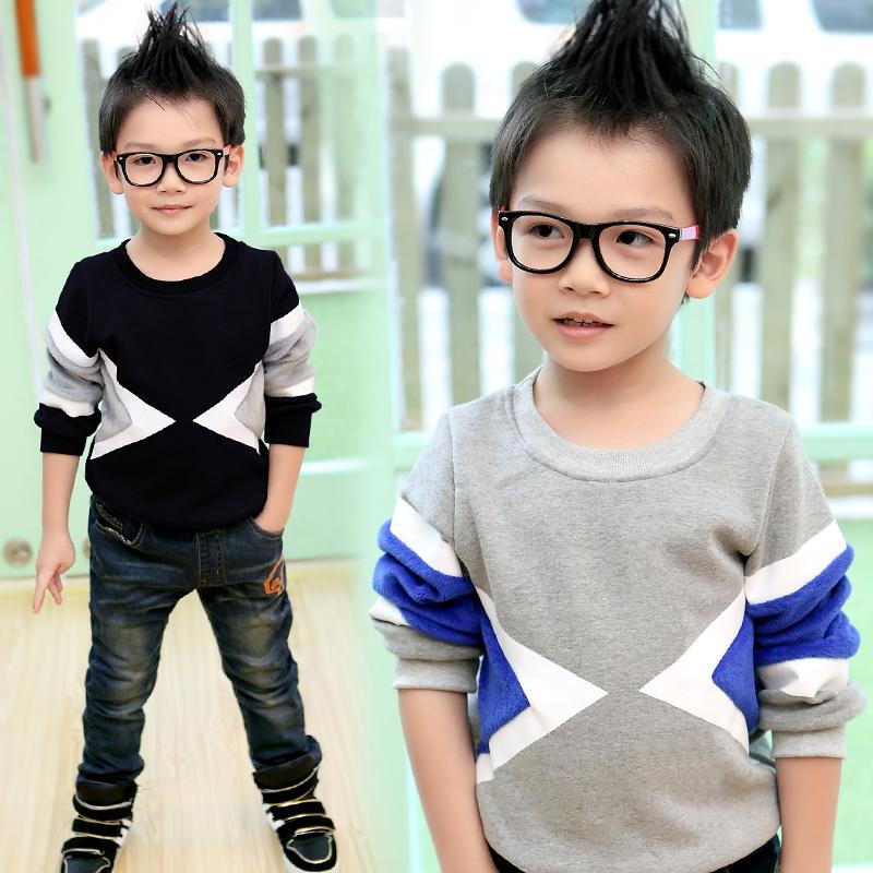 Малые die осень 2014 Новый корейский Детская одежда ударил цвет мальчиков проложенные рубашки Пальто для детей в конце прилива 6878
