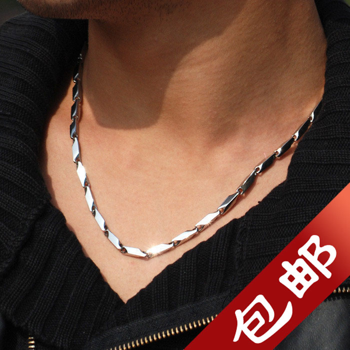 Characteristic titanium steel Lovers Necklace personality fashion male collar chain Korean mens and womens bamboo chain