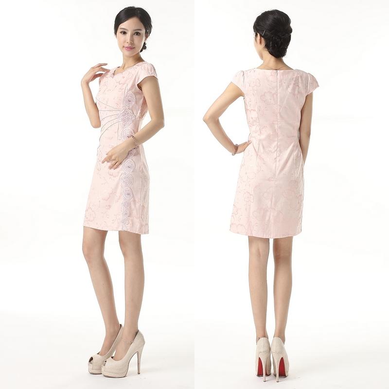 旗袍典雅女装夏季刺绣礼服改良阔领女士精品妈妈装氨棉质地舒适