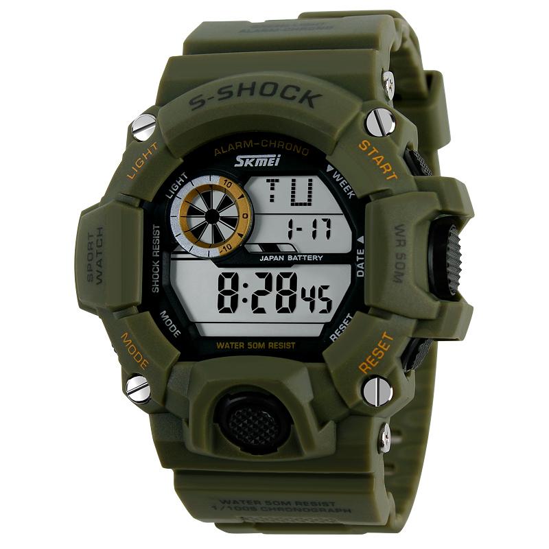 ブランド軍グリーンLED大文字盤防水電子時計ダブルカレンダー潮流男子表アウトドアスポーツ学生腕時計