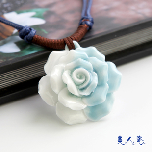 Jingdezhen porcelain necklace hand woven ceramic flower rose pendant necklace wholesale girls gift