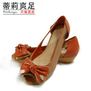 Tilly cool foot women Sandals low 2015 summer bow mixed colors fish leather Sandals Tiger