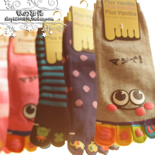 Six pairs of toe socks cute cartoon socks cotton socks Duantong socks floor socks girls socks without their feet