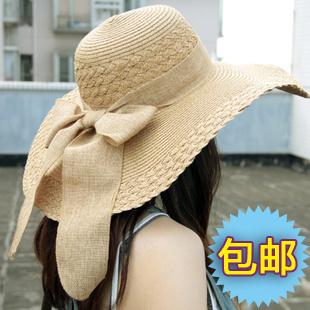 韓版超大帽檐蝴蝶結飄帶女士大沿草帽 夏季遮陽帽 沙灘帽太陽帽子