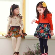 Blended cream-colored flower fish spring new big skirt girl autumn clothes during the spring and autumn 2015 printed long-sleeved dress