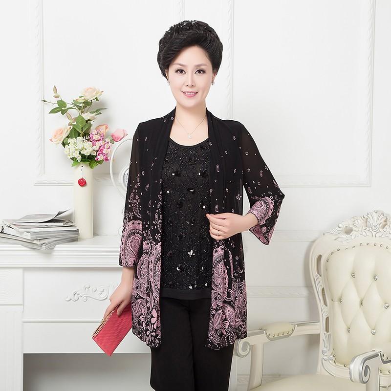 Среднего и старые возрасте женщин осень, мать платье длинный рукав рубашки шифон 40-50 плюс размер пальто осень поддельные из двух частей t рубашка