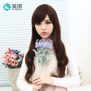 Ying Qi romantic princess hair curls oblique bangs wig 100 real hair long hair wig