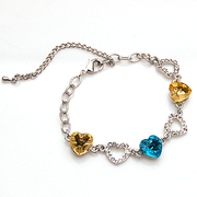 Email Crystal heart bracelet diamond heart Bangle Bracelet new smiling girl Crystal chain necklace
