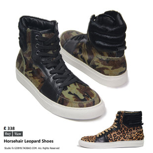 Foreign fashion sports shoes British male leather leopard horsehair men in camouflage high top shoes tide shoes