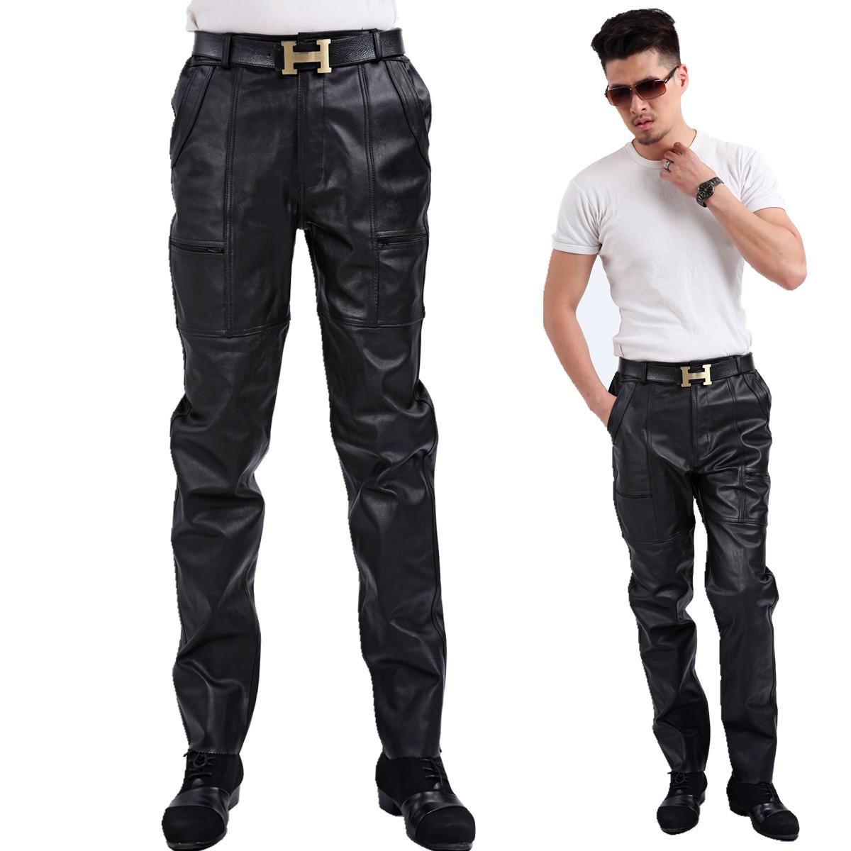 2018 Haining мужской стиль из натуральной кожи Горные брюки овчина Борьба за кожей для отдыха мужской брюки мужской кожа длина брюк брюки приталенный мужской брюки