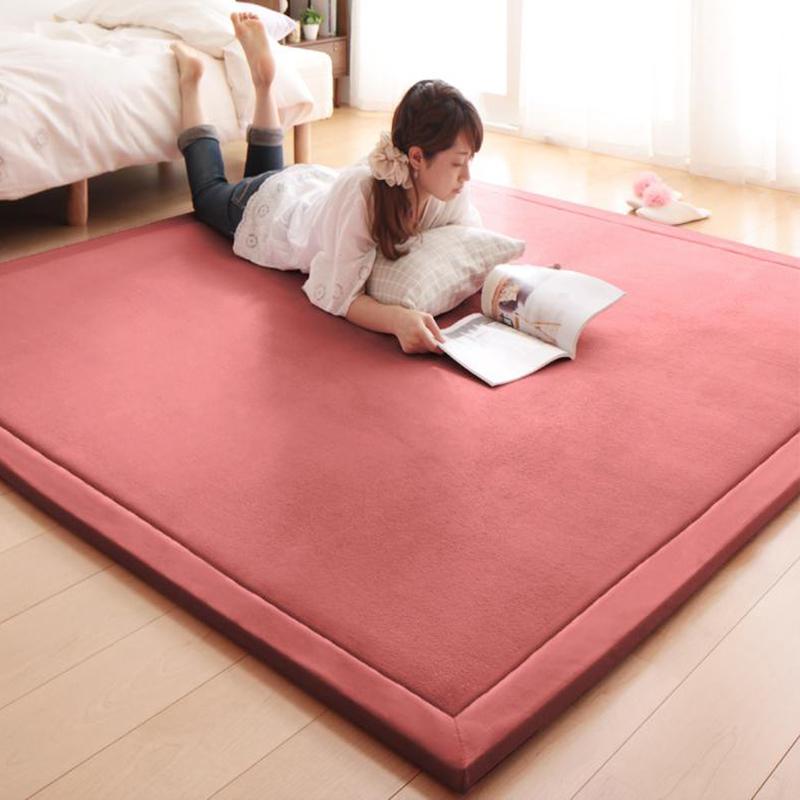 芦苇弹性珊瑚绒客厅茶几地毯加厚儿童爬行垫欧式简约卧室满铺地毯