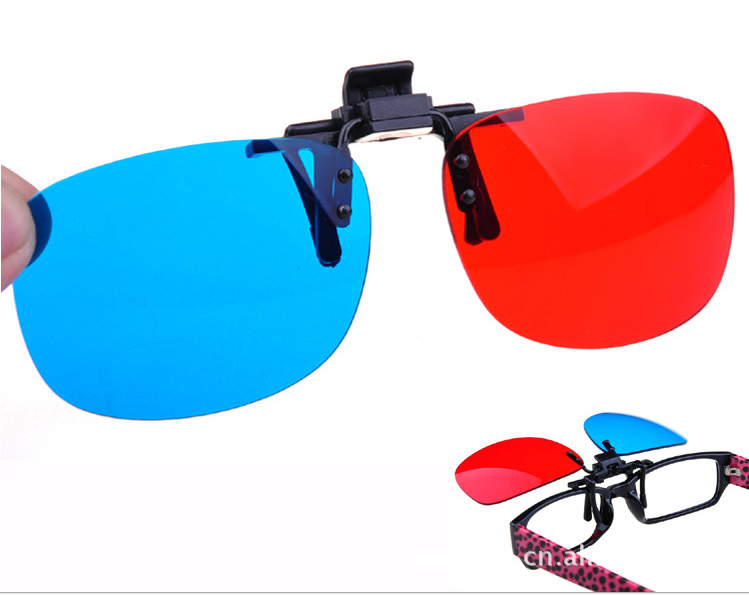 热销35件买三送一暴风影音电脑电视专用3d夹片眼镜近视3d眼睛高清红蓝左右3d眼镜夹
