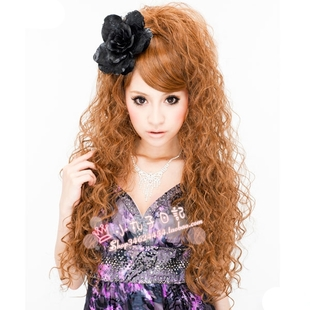 PRISILA long curly wig heat resistant corn lines can shape GAL little devil half wig half wigs