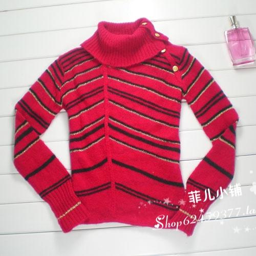 2015 году Скидки Распродажа осень/зима подходят тонкие полосы ярких шелковых вязать свитер высокой шеи воротник в конце реальная вещь