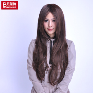 Large female long hair wig long hair fluffy oblique bangs realistic matte simulation hair female fringe of Korea