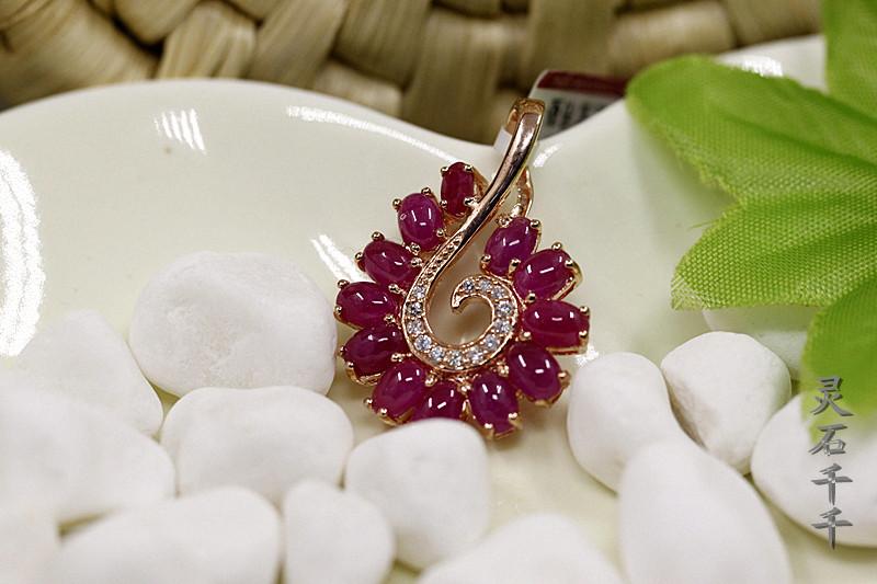 WZD032红宝石925银天然红宝石吊坠玫瑰金吊坠项链坠支持验货礼物