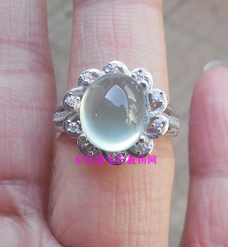 Baoyou mother water saving head good quality natural grape stone ring 9 * 11mm 925 silver micro setting zircon