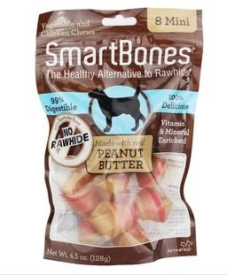 美国SmartBones 宠物狗零食 花生味迷你磨牙洁齿骨8支装 狗咬胶