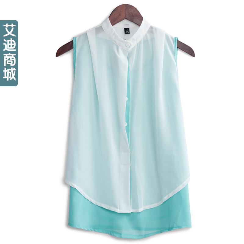 Двухсекционный шифона рубашку лето 2014 новой корейской версии сыпучих, двухсекционный шифон рубашку блузку дамы пишется цвета свитер