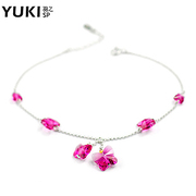 YUKI silver anklets ladies 925 Silver jewelry Crystal Korean fashion Butterfly girl gifts fresh and lovely