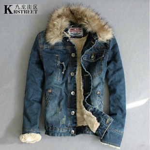 Men s jeans plus velvet winter coat removable liner fur collar casual warm nostalgia thick denim jacket short jacket