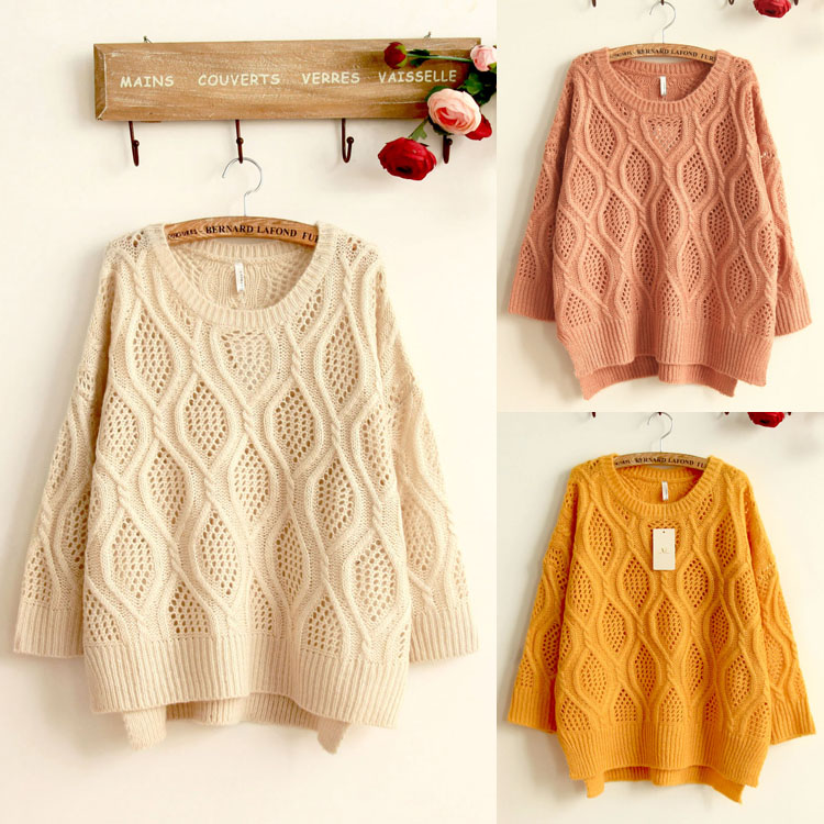 Popular sweet wool Pullover warm bat regular autumn long sleeve one year old warm one piece sweater