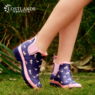 LOSTLANDS British wind no rain boots tube Ms Duantong horse children style garden shoes boots new deals