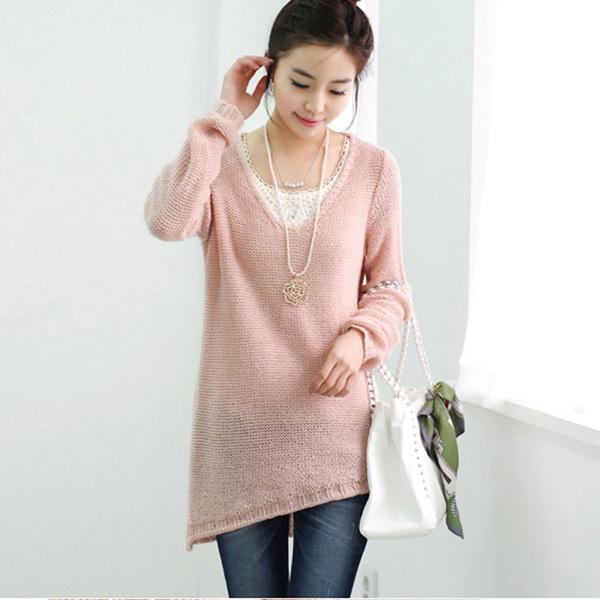 韩版秋装新款 时尚V领不规则下摆宽松针织衫