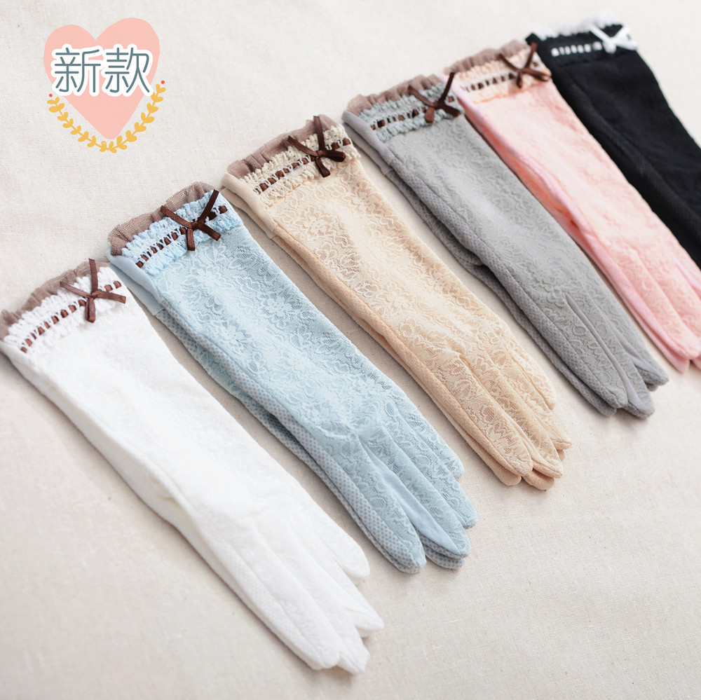 Spring and summer womens sunscreen Driving Gloves Lace / cotton gloves thick wrist lace short