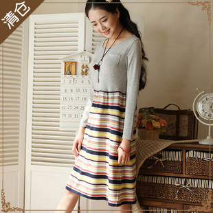 DearYuki Department of Forestry Sen female sweet pastoral wind spell color Slim College Wind striped cotton Dresses