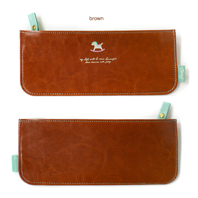 韩国进口文具JETOY Hello joozoo pencil case 皮革笔袋-brown