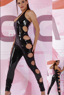 Female pole dancing catsuit open crotch piece pants zipper hollow section rubberized leather corset sleeveless leather straps