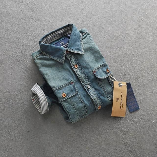 Сода соды Весна травы сюда тонкий тонкий мужские хлопчатобумажные мыть длинные Джинсовая рубашка мужская рубашка