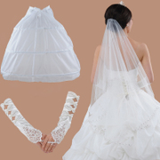 Honey because the new Bridal Veil accessories gloves petticoat accessories three-piece Bridal Accessories hand-sewn