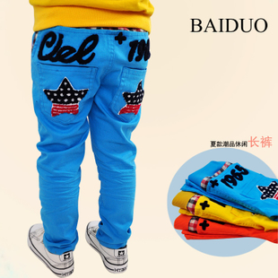 Children trousers Korean boy handsome personality pentagram foreign trade 2014 spring candy color jeans trousers