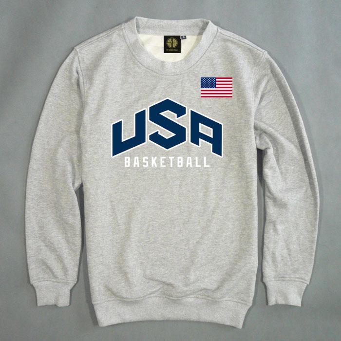 春秋款USA美国梦之队梦十男长袖T恤运动外套纯棉篮球小卫衣套头衫